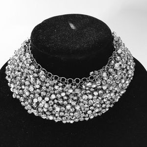 Statement rhinestones choker necklace